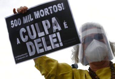 Brasil más de 500.000 muertos en COVID en manifestación antigubernamental